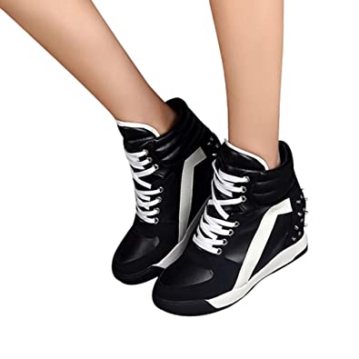 WOMENS PLATFORM CASUAL RETRO TRAINERS LADIES WEDGE NEW LOOK FASHION SHOES SZ