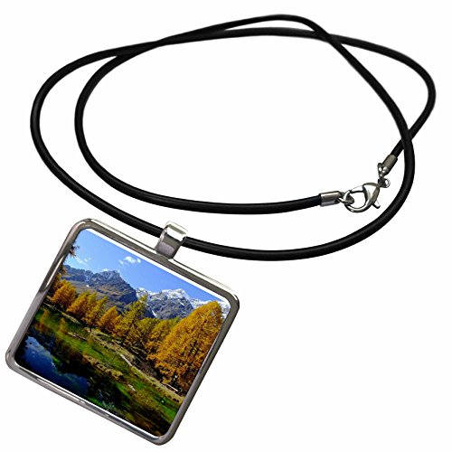 Lagos Rope - 3dRose Cities Of The World - Valle Daosta Mirror Lago Bleu Lake Aosta Valley In Italy - Necklace With Rectangle Pendant (ncl_268655_1)