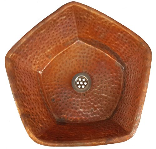 Egypt gift shops Pentagon Fire Burnt Copper Under Counter Surface Mount Bath Lavatory Pedicure Sink Bowl Basin by Egypt gift shops