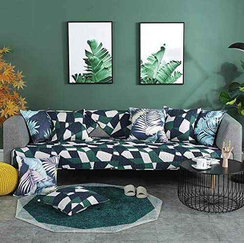 Montage Futon Cover - BW0057 Fashion Look Sofa Slipcover Couch Cover Montage Sofa Cushion Quilted Furniture Protector for Futon,Loveseat,Armchair,Recliner(1 Piece,W36 x L94inch,Green)