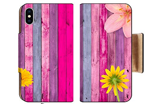- MSD Apple iPhone XS Flip Pu Wallet Case Pink Wood Background with Flowers Image 10083293 Customized Tablemats Stain Resistance