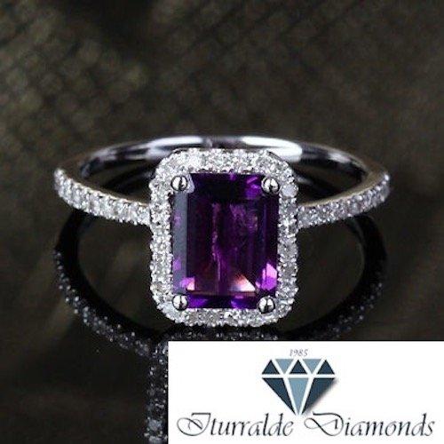 (14k Emerald Cut Amethyst Diamond Pave Halo Engagement Ring)