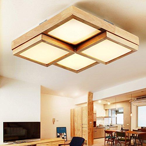 Jj Moderne Led Deckenleuchte Solid Wood Cube Square Ledhallway