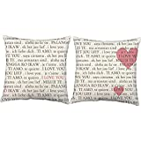 Set of 2 RoomCraft I Love You in Any Language Throw Pillows 20x20 Inch Square White Outdoor Couple Heart Cushions