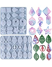 STYGALO 2 Pieces Resin Jewelry Molds Leaf Shape Earring Silicone Mould Bracelet Necklace Pendant Jewelry Making Pendant Craft Cake Topper Decoration for Women Girls DIY Earrings Craft Supplies Halloween Christmas New Year Gift