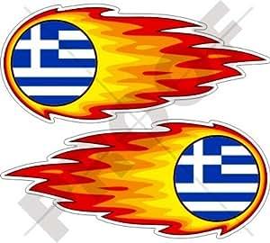 """GRECIA Griega Bola de Fuego Llameante Fuego Hellas 5"""" (125mm) Pegatinas de Vinilo Adhesivos, Stickers, Calcomanias x2"""