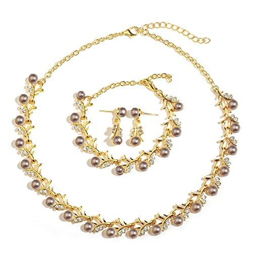 MOOCHI 18K Gold Plated Grey Simulated Pearls Crystal Twig Pattern Jewelry Set