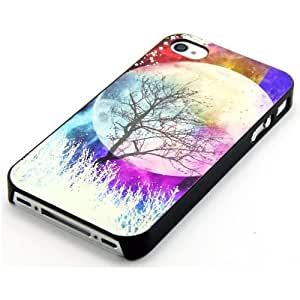 INASK Effect Colorful Case Glow in the Dark Fluorescent Back Cover Moon Forest Tree for Iphone 4 4g 4s Case with Free Lcd Film Screen Protector