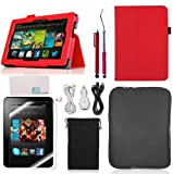 Llamamia Folio Stand PU Leather Case Cover Bundle for Kindle Fire HDX 7 Inch (2013 Release) with Car Charger, Two 6F Cables, Velvet Bag, Zipper Sleeve Bag, 2 Screen Protectors, 2 Stylus(Not Compatible with Kindle Fire HD 7 2012 or 2013 Release)(Red)