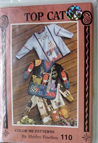 Top Cat Pullover Appliqué Tops Sewing Pattern XS S M L XL OR MISSES 6-22 By Color Me Cats and Shirley - Applique Pullover