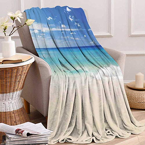 maisi Ocean Digital Printing Blanket Tropical Haven Style Sandy Shore and Sea with Waves Escape to Paradise Theme Summer Quilt Comforter 62