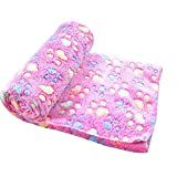Ultra Soft Fleece Paw Print Pet Blanket Dog Puppy Cat Mat for Bed Sofa Kennel Cover Kitten Blanket (L - Rose Red)