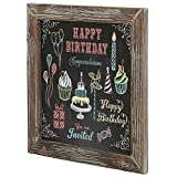 Farmhouse Style Torched Wood Square Framed Wall-Mounted Erasable Chalkboard Message Board Sign