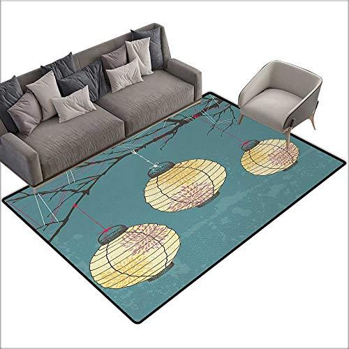 - Lantern Decorative Floor mat Three Paper Lanterns Hanging on Branches Lighting Fixture Source Lamp Boho 78
