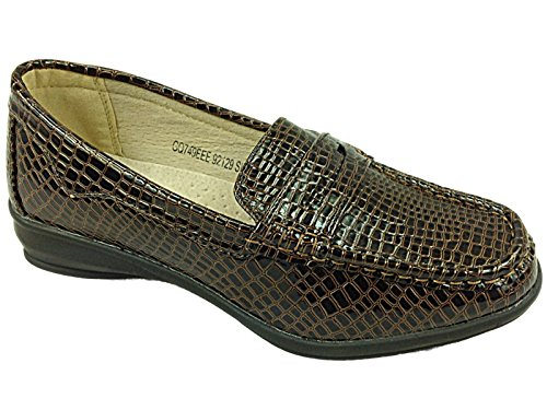 Foster Footwear Ladies Dr Keller Lainey Brown/Elaine Beige Croc Wide Fit Flat Wedge Comfort Casual Shoe Size 4-9 Brown Eee hbK60Rapqb