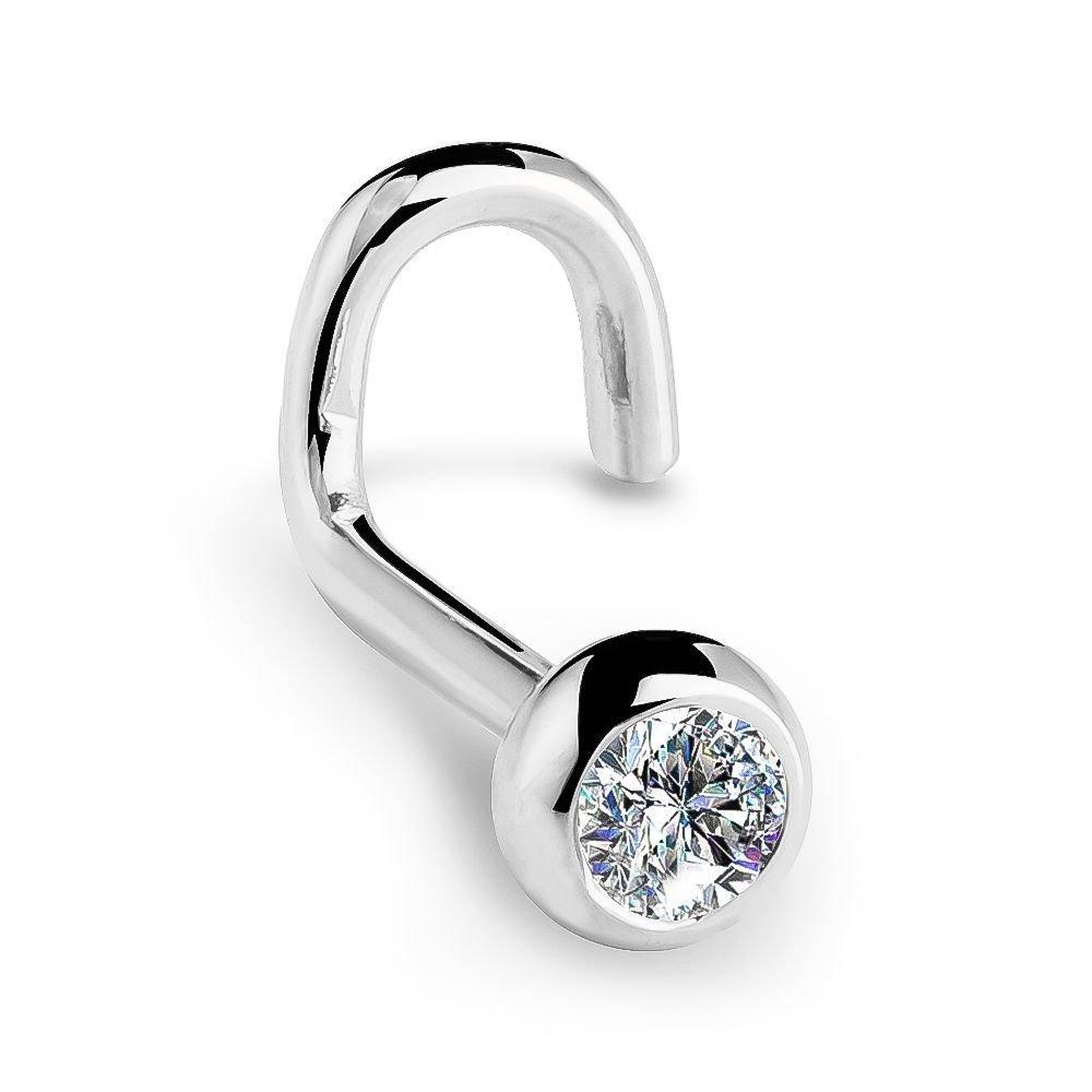 FreshTrends I1 2.5mm 0.06ct. t.w. Diamond Dome Bezel Set Diamond 14K White Gold Twist Nose Ring 18G by FreshTrends