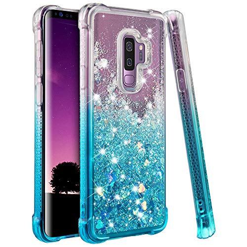 Ruky Samsung Galaxy S9+ Plus Case, Gradient Quicksand Series Glitter Flowing Liquid Floating Soft TPU Bumper Cushion Reinforced Corners Women Girls Cute Case for Galaxy S9+ Plus, Gradient Teal