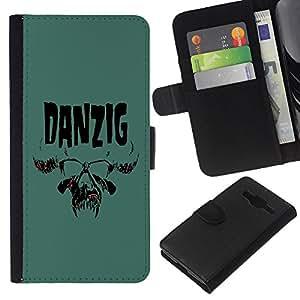 KLONGSHOP // Tirón de la caja Cartera de cuero con ranuras para tarjetas - Danzig - Samsung Galaxy Core Prime //