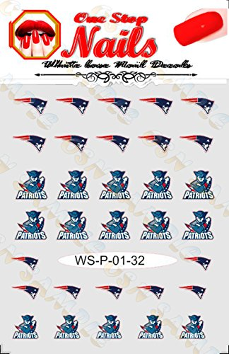 New England Patriots Vinyl Peel and Stick nail decals. Set of 32 Stickers with White Backgroung. V1