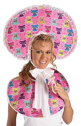 Forum Novelties Womens Big Baby Girl Deluxe Accessory Bib and Bonnet Set, Pink, One size