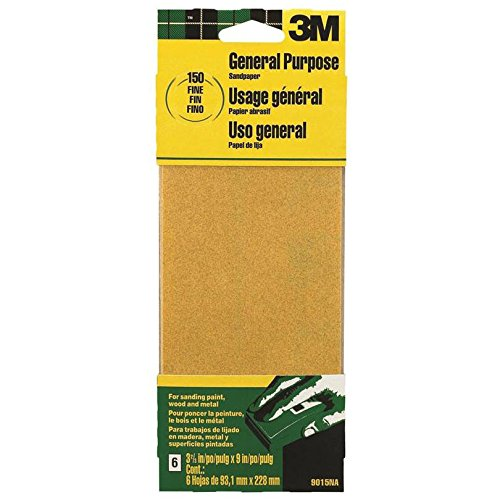 3M 9015NA 9'' Fine Paint, Wood, Metal Sandpaper Third Sheets