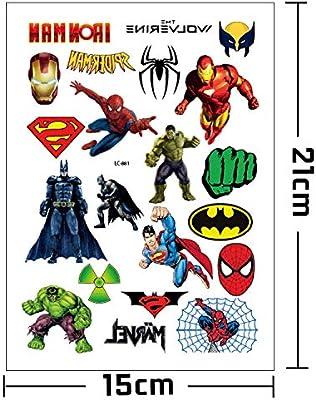 Eposeedor Tatuajes Superhéroes, Falso Tatuajes Temporales Niños Adultos, Tattoos Temporales para Fiesta Cumpleaños Infantil Regalo de Piñata 1 Hoja