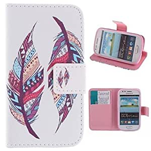ZXC Colored Feather Patterns PU Leather Full Body Case with Stand and Card Slot for Samsung Galaxy S3 Mini I8190