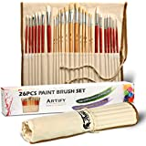 Artify 26 Pcs Paint Brushes Art Set for Acrylic Oil Painting| a Kit of High Quality Hog and Nylon Hairs| Include Two Large Size Nylon Brushes and a Carrying Pouch