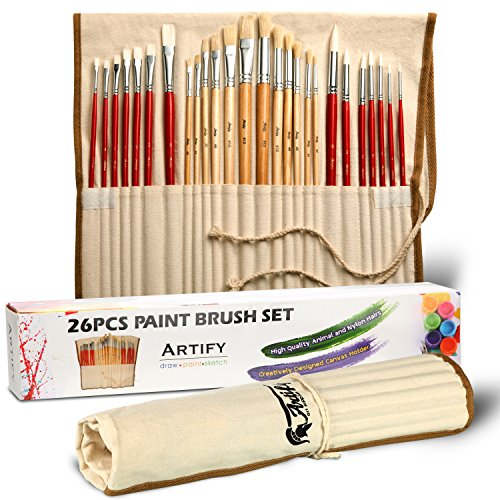 Artify 26 Pcs Paint Brushes Art Set for Acrylic Oil Painting| a Kit of Hog and Nylon Hairs| Include Two Large Size Nylon Brushes and a Carrying - Face Shapes Best Glasses Different For