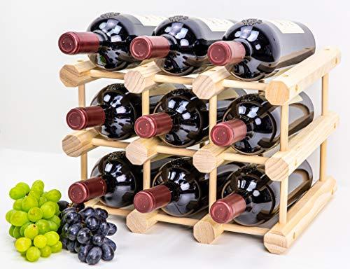Heincorp Stackable Wooden Wine Rack Premium 9 Bottle Wine Holder