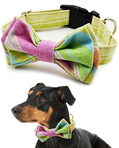 Dog and Cat Collar with Bow Tie - Adjustable 100% Cotton Design for Big Dog Puppy Cat - Cute Fashion Dog and Cat Collar with Bow Ties - Red,Brown, Blue,Green,Yellow Plaid Stripe Pattern (Green White)