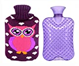 hot water bottle wool - Large Cartoon Thick Durable Hot&Cold Water Bottle Hand Warmer, 2 L, Violet