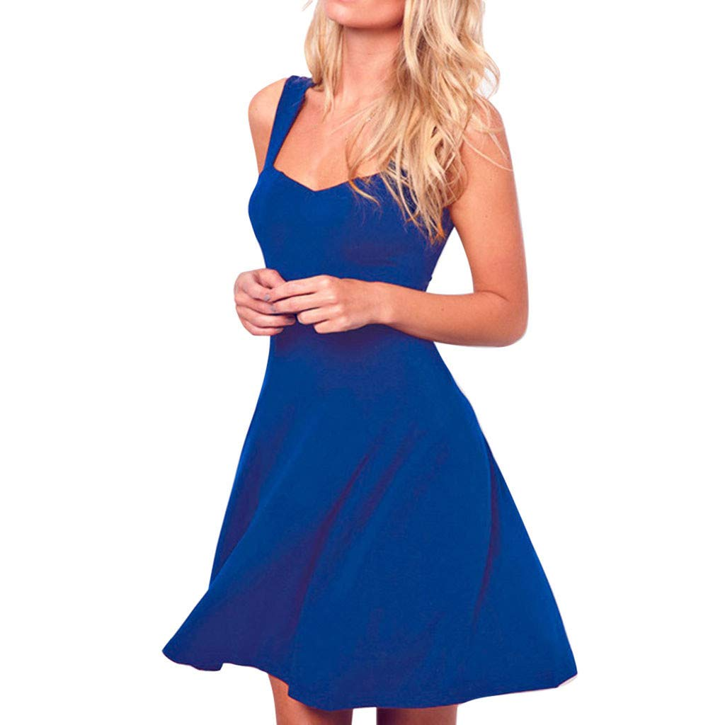 Sttech1 Casual Summer O-Neck Solid Color Sleeveless Mini A-line Dress Blue