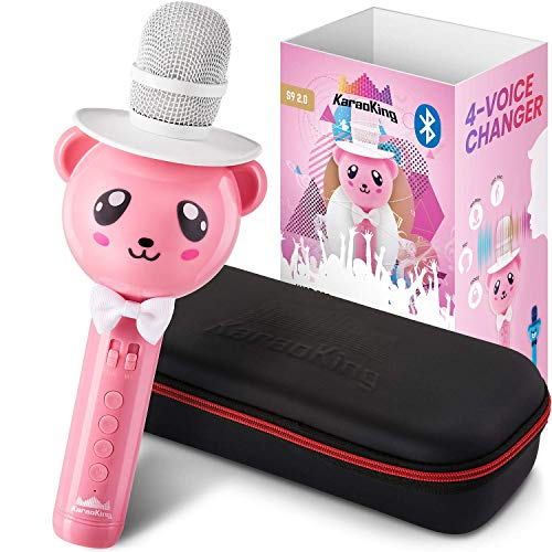 KaraoKing Wireless Karaoke Microphone for Kids - Bluetooth Mic Great for Solo Singing, KTV Parties, Magic Boys & Girls Christmas or Birthday Gifts - Portable Karaoke Machine for Kids Pop [S9 Pink]