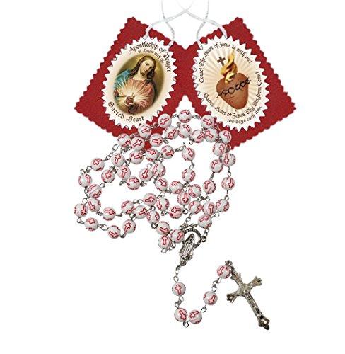 Sacred Heart of Jesus Apostleship of Prayer Scapular and Red Cross Beads Rosary Blessed Prayer Card