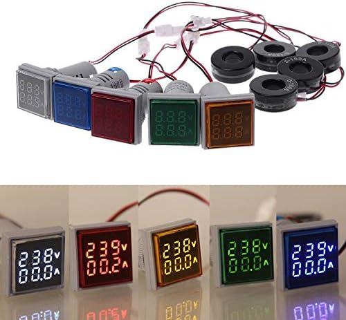 1 pezzo blu 22 mm Amperometro di corrente e voltmetro 0-100 A AC50-500 V colore: rosso 2 in 1 con display digitale rotondo POWERTOOL