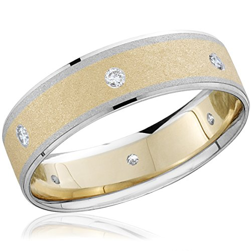 Mens 14k White and Yellow Gold Two Tone Wedding Ring - Size 8
