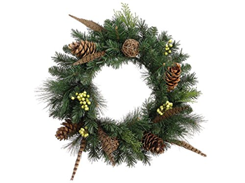 Allstate Unlit Pheasant Feather Artificial Christmas Wreath with Pine Cones, 20