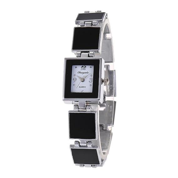 YAZILIND cuarzo reloj de pulsera clásico negro blanco dial reloj de titanio pulsera de acero cuadrado