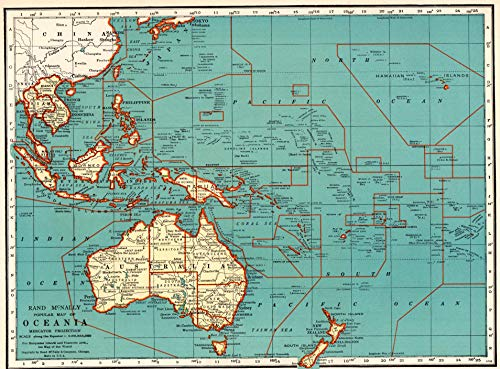 Original Antique Wall Map - 1937 Antique Oceania Map Original Vintage Map of The Philippines Pacific Islands Print Not a Reprint Home Office Decor Gallery Wall Art #1166