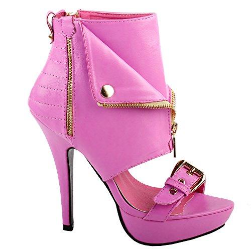 SHOW STORY Moto Pink Open Toe Gold Zip Strappy Stiletto High Heel Dress Sandals Gladiator High Heel Stiletto Platform Ankle Bootie Sandals,LF30103HP41,10US,Pink