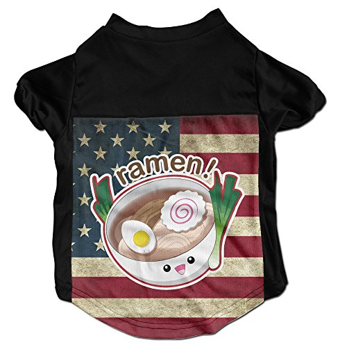 [Japanese Ramen Noodles Costumes, Clothing, Shirt, Vest, T-shirt, Puppy Pet Dog Cat Fashion 100% Polyester Fiber Tee Gift For Any Animal Fan Lovers Black] (Ramen Noodle Costumes)