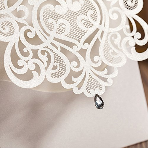 Hollow White Wedding Invitations Elegant Laser Cut Birthday Party Banquet Celebration Cardstock with Rhinestone CW5001 (100) by Wishmade (Image #3)