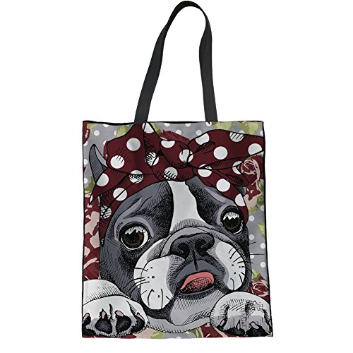 (HUGS IDEA Cute Boston Terrier Linen Tote Bag Travel Shopping Casual Shoulder Bag School)