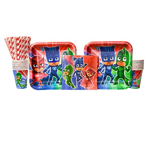 Cedar Crate Market PJ Masks Party Supplies Pack for 16 Guests: Straws, Dinner Plates, Luncheon Napkins, and Cups ()