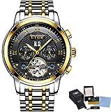 LIGE Reloj para Hombre Reloj mecánico automático Cronógrafo Reloj de Pulsera Impermeable para Empresas, de Acero Completo,goldblack