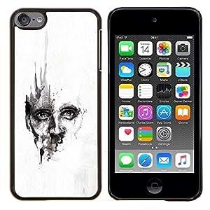EJOOY---Cubierta de la caja de protección para la piel dura ** Apple iPod Touch 6 6th Touch6 ** --Acuarela profundo Cara Blanca