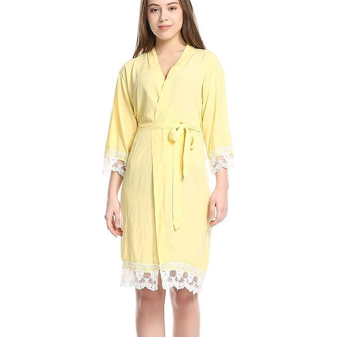 JZLPIN Mujeres Algodón Kimono Robes Suave Ropa de Dormir para Novia y Damas de Honor con Cordón Recortar: Amazon.es: Ropa y accesorios