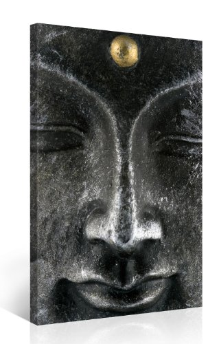 all Art – BUDDHA FACE – 30x48 Inch Canvas Picture Stretched On A Wooden Frame – Giclee Canvas Printing – Hanging Wall Deco Picture / e3364 ()