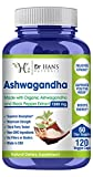 Organic Ashwagandha Root Powder Supplement by Dr. Hans, PhD, Max Strength, Anxiety & Stress Relief, Adrenal Fatigue, Immune, Energy, Mood & Thyroid Support, 1300mg Veg Capsules w/Black Pepper Extract